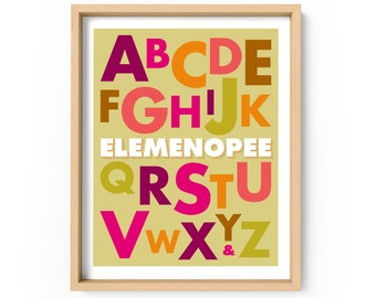 Elemenopee Alphabet Print, ABCs Print, A to Z Poster, Typography Alphabet Poster