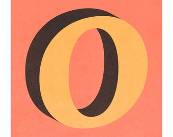 The Letter O, Original Art Print, Typography, Alphabet, Gold, Charcoal, Coral