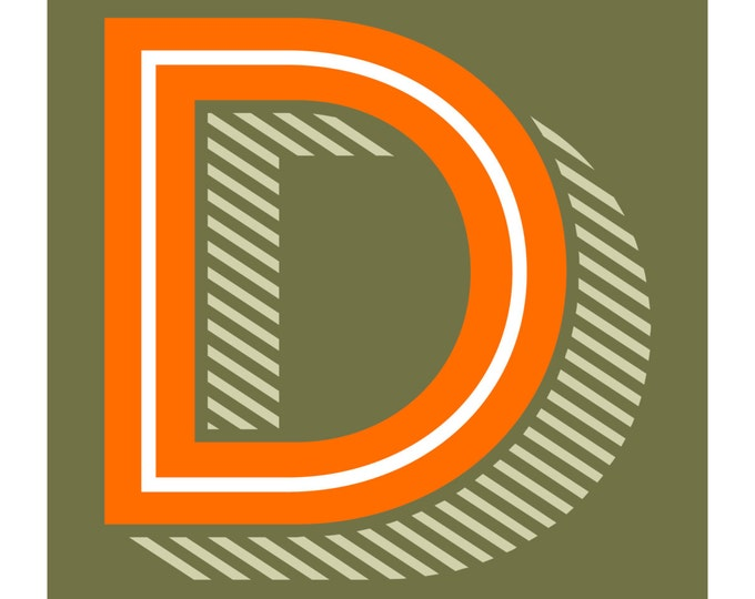 The Letter D, Original Art Print, Alphabet, Typography, Orange, Green