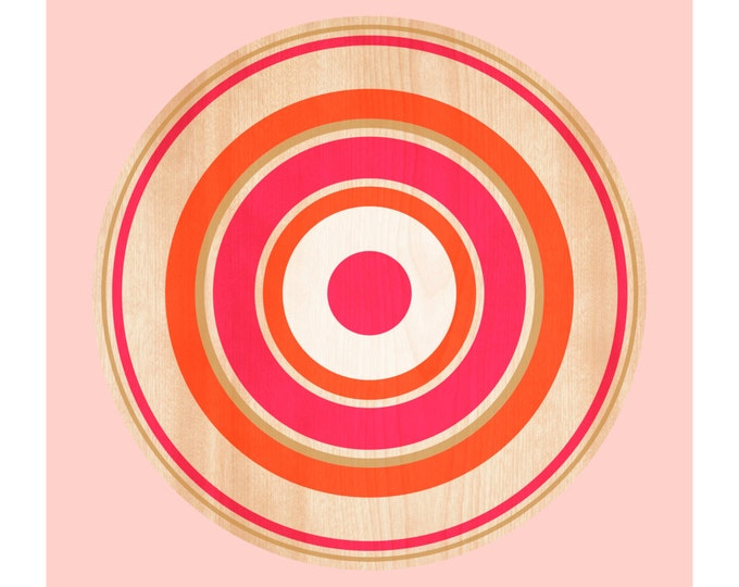 Spin on Maple, Original Art Print, Target, Geometric, Abstract, Circle, Pink, Orange