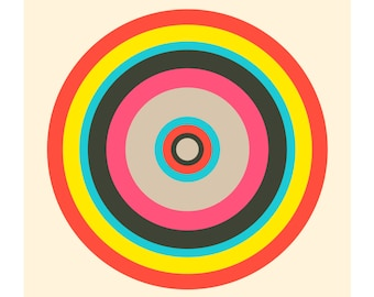 Around in Circles No. 3, Original Art Print, Geometric, Target, Pink, Red, Yellow