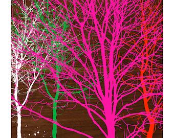 TREES ON WALNUT, Original Art Print, Landscape, Nature, Neon Pink, Orange, Wood