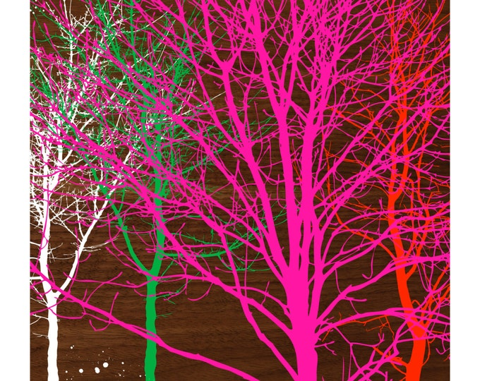 TREES ON WALNUT, Original Art Print, Landscape, Nature, Neon Pink, Orange, Wood