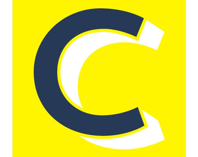 The Letter C, Original Art Print, Typography, Alphabet, Navy Blue, Neon Yellow, White