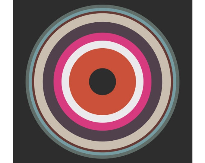 Around in Circles No. 2, Original Art Print, Geometric, Target, Abstract, Pink, Red, White