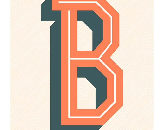 The Letter B, Original Art Print, Typography, Alphabet, Orange, Blue Gray, Cream