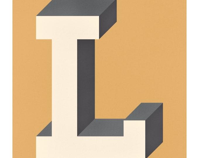 The Letter L, Original Art Print, Typography, Alphabet, Monogram