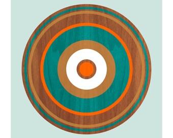 Spin on Walnut No. 2, Original Art Print, Geometric, Abstract, Target, Circles