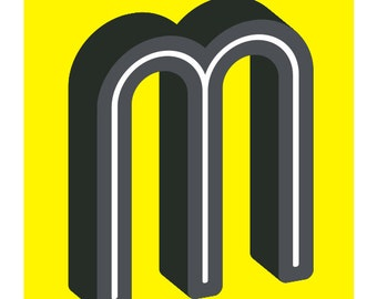 The Letter M, Original Art Print, Typography, Alphabet, Black, White, Yellow, Gray