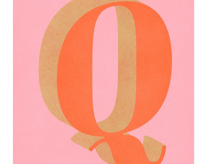 The Letter Q, Original Giclee Art Print, Typography, Alphabet, Monogram, Orange, Pink, Gold