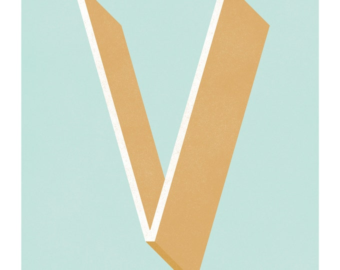 The Letter V, Original Giclee Art Print, Typography, Alphabet, Monogram, Blue, Gold