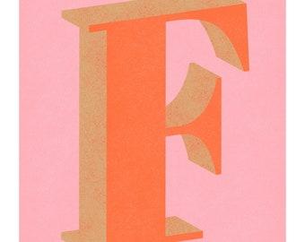 The Letter F Art Print, Typography, Alphabet