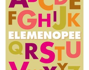 Elemenopee Alphabet Print, ABC Print, A to Z Poster, Typography Alphabet Poster
