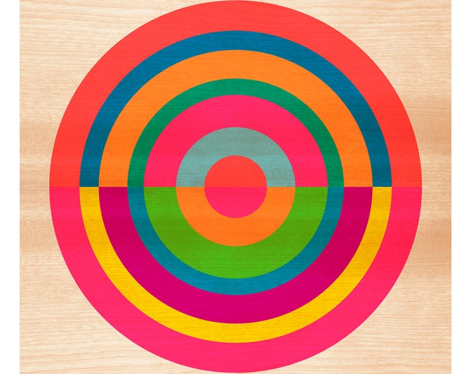 Target on Wood No. 1 - Original Art Print, Geometric, Abstract, Target, Circles, 12x12