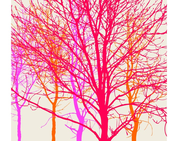 Neon Trees, Original Art Print, Landscape, Nature, Pink, Orange