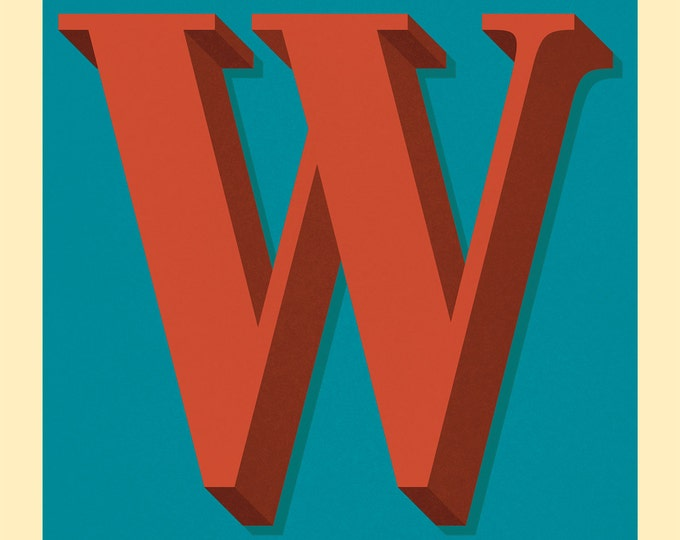 The Letter W, Too - Original Giclee Art Print, Typography, Alphabet, Monogram, Red, Burgundy, Blue