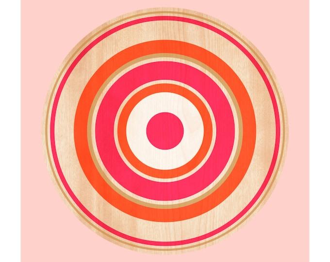 Spin on Maple, Original Art Print, Target, Geometric, Abstract, Circle, Pink, Orange