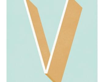 The Letter V, Original Giclee Art Print, Typography, Alphabet, Monogram, Blue, Gold