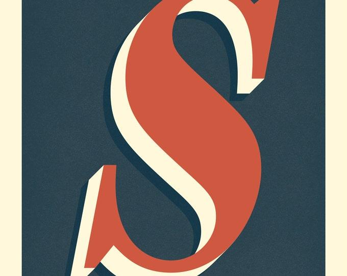 The Letter S, Original Giclee Art Print, Typography, Alphabet, Monogram, Red Orange, Cream, Midnight Blue
