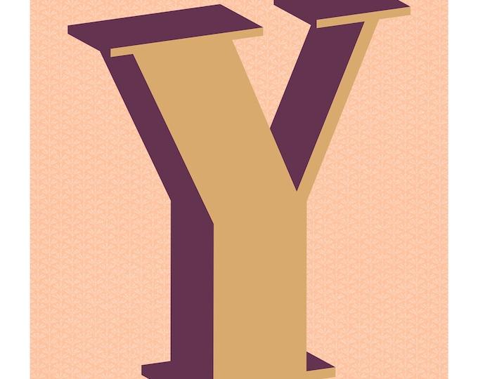 The Letter Y, Original Giclee Art Print, Typography, Alphabet, Monogram, Purple, Gold, Pink