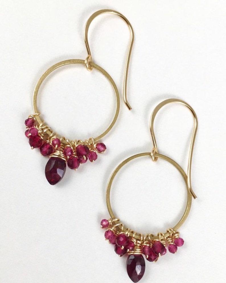 AAA Garnet /& Ruby Earrings Gifts For Her January Birthstone Minimalist Earrings Garnet July Birthstone Modern Ruby Boho