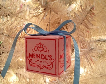Wes Anderson inspired MENDL'S handmade wooden painted sweets box Christmas ornament movie decor nursery collectible gift present baby shower
