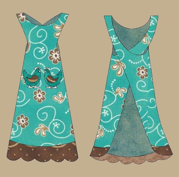 PDF cross-over strap Hen pocket shift-style apron pattern
