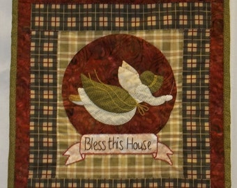 Bless This House Sunbonnet Sue Quilted Applique Wall Hanging Pattern
