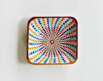 Square shaped catch all bowl - Colorful Ombre mandala design - handpainted home decor - unique gift - decorative bowl