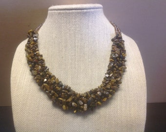 Tigers Eye Beaded Chips Neacklace