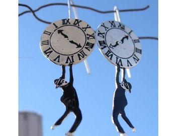 Clock Earrings, Harold Lloyd Silver Earrings, Movie Earrings, Comedy Jewelry, Silent Film Earrings, Gift For Cinema Lovers, Gift For Her
