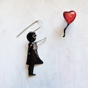 Banksy Earrings Girl with a Red Balloon...