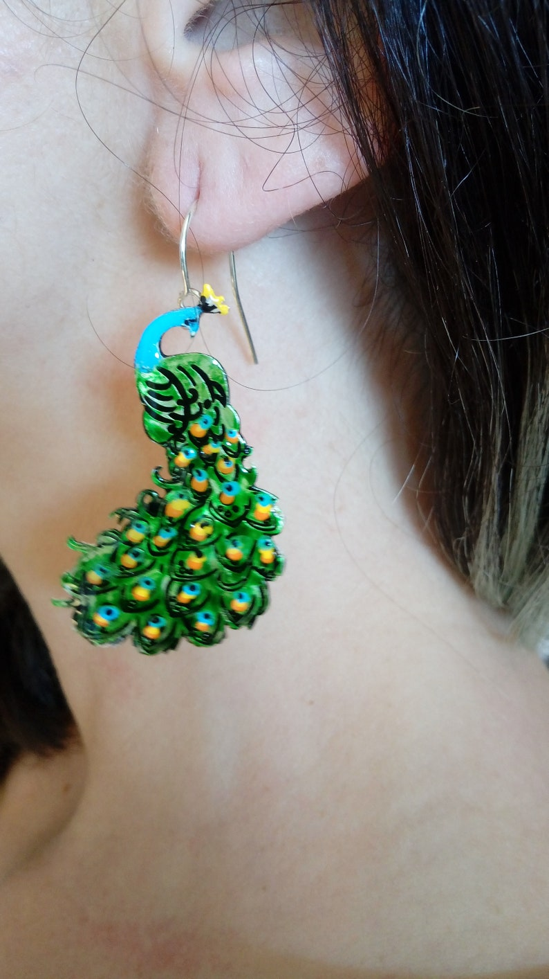 Green Jewelry Mismatched Earrings Peacock and feather earrings Handmade Jewelry Animal Jewelry Silver Jewelry Gift For Her