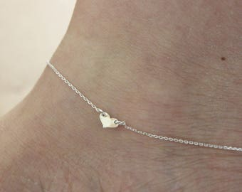 Heart anklet, tiny anklet, simple anklet, delicate silver anklet, rose gold anklet, summer, beach, ankle bracelet, gift for girlfriend