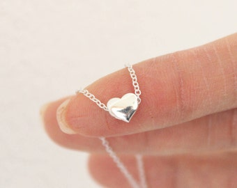 Tiny heart necklace, sterling silver heart necklace, dainty heart necklace, layered necklace, choker, dainty necklace delicate necklace,