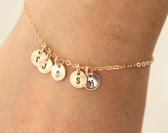 Tiny initial bracelet, rose gold bracelet, sister gift for mom, delicate bracelet , dainty bracelet, gift for grandma, personalized gift