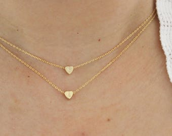 Tiny heart necklace, initial necklace, dainty necklace, delicate necklace, bridesmaid gift, thin gold necklace, child necklace, minimalist