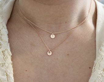 tiny initial necklace, letter necklace, sister gift, BFF necklace,  rose gold necklace, layered necklace, dainty necklace, delicate necklace