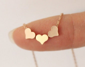 Rose Gold heart necklace, three sister gift, gift for best friend ,dainty heart necklace, delicate necklace, bridesmaid gift, gift for mom