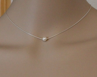 Floating pearl necklace, simple pearl necklace, bridesmaid gift, delicate gold necklace, simple necklace, bridal party gift, classic pearl