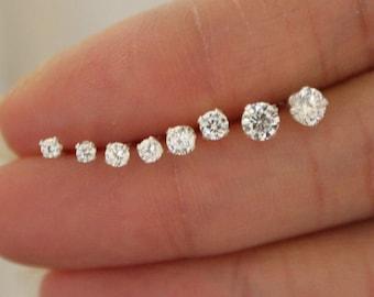 CZ diamond Stud Earrings, tiny stud earrings, Clear stud earrings, birthstone stud earrings,bridesmaid gift baby earrings, teeny tiny studs