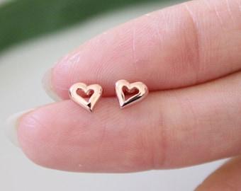 Rose gold stud earrings, Heart stud earrings, tiny stud earrings, Sister gift, Dainty teeny tiny studs, children earrings, bridesmaid gift