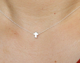 Tiny cross necklace, silver cross necklace, cross pendant, choker, dainty delicate necklace, baptism gift, confirmation, first communion