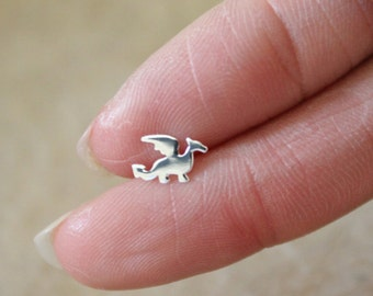 Dragon Cartilage earring, silver cartilage earring,  cartilage stud, Origami jewelry mutiple holes Dinosaur cartilage earring, jurassic park