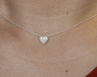 Tiny Heart necklace, dainty heart necklace, CZ diamond pave heart necklace, Bridesmaid Gift, Sister gift, Delicate necklace, silver necklace
