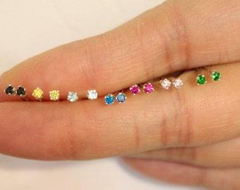 Sterling Silver 2mm CZ Stud Earrings , tiny stud earrings, birthstone stud earrings, teeny tiny studs, children jewelry, baby earrings
