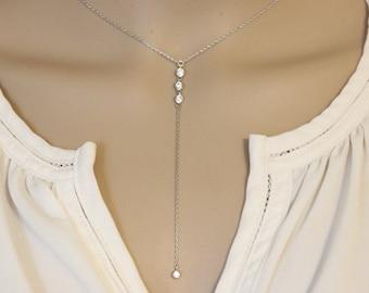 Lariat necklace, Cz Diamond Gold lariat necklace, Y necklace, layered necklace, Long Necklace, Delicate gold necklace, simple lariat.