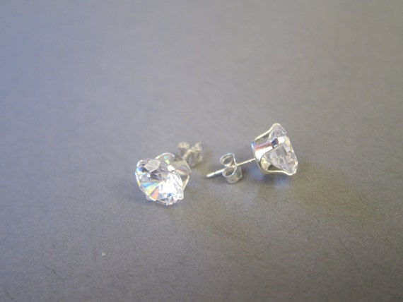 8mm matte silver plated EH0005-MS Star shape Cubic Ear Stud 2 PCS Brilliant-cut Cubic Zirconia Earring making post supply