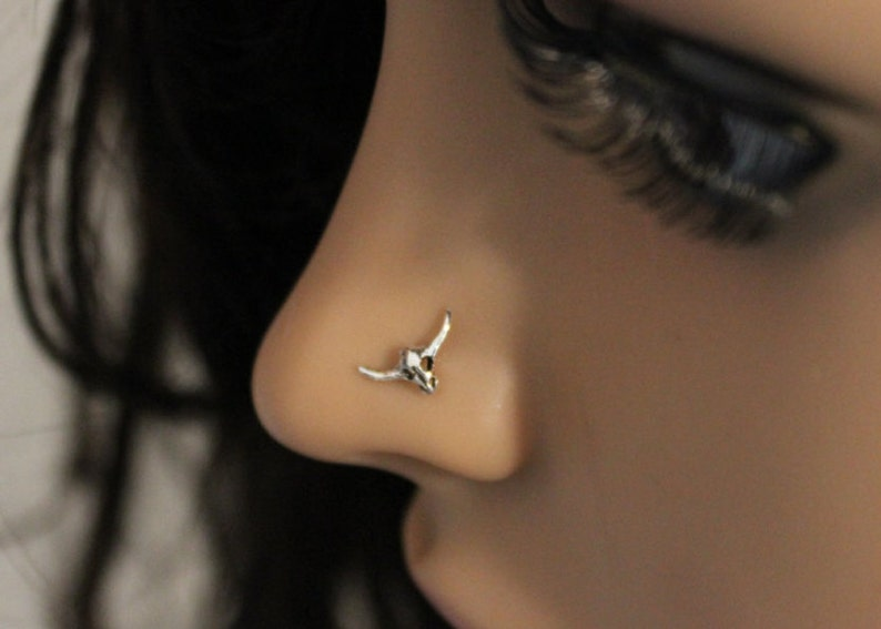 multiple piercing Bull Head Nose stud silver cartilage Tiny nose stud Bull Horns cartilage Bull Skull Nose ring cartilage stud tragus