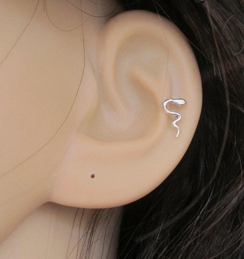 209b32cb2 Tiny Snake Cartilage Earring Snake Stud Earring Tragus | Etsy
